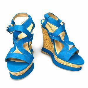 3 for $40 Bumper Blue Basket Strappy Wedge Sandals